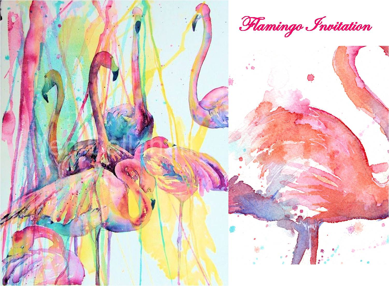 Watercolor invitations Flamingo